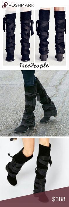 Free People Paradiso Wrap Tall Boots $350 on MERC! Brand New Free People Paradiso Wrap Boots - Sold Out Everywhere 100% real black suede calfskin tall boots, with wrap statement details, block heels, round toes and a hidden ankle zip for easy pull on. 100% authentic Artisan crafted fine leather, made in Portugal. The boots are a size 41, These retail at $428! These are an extreme rare find often brands dont make a size 41! So enjoy them while they last! Free People Shoes Heeled Boots