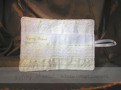 Tea Wallet in vintage fabrics and laces, interior ~ by Gypsy Thread