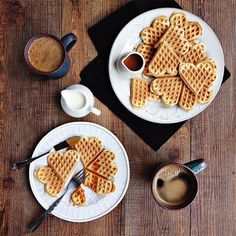 Coffee and heart shaped waffles for breakfast!