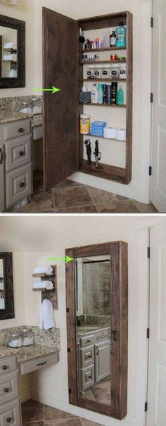 DIY Bathroom mirror storage case that holds everything. - 17 Repurposed DIY Bathroom Storage Solutions-- --not for just the bathroom. Clever Bathroom Storage, Bathroom Mirrors Diy, Bathroom Storage Solutions, Pallet Bathroom, Kitchen Storage, Creative Storage, Master Bathroom, Bathroom Designs, Diy Bathroom Ideas