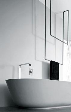 Striking bath | Black & White Bathroom | Modern Minimalist Interiors | Contemporary Decor Design #inspiration #nakedstyle