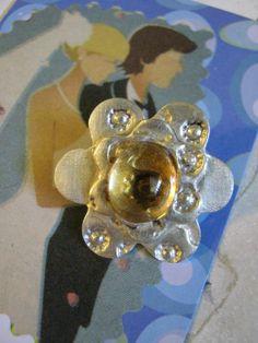 Citrine Flower Charm fine silver by janislogsdongems on Etsy, $19.50