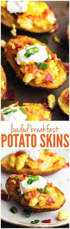 These crispy and delicious potato skins get loaded up with all of your favorite breakfast foods making one hearty and delicious breakfast!