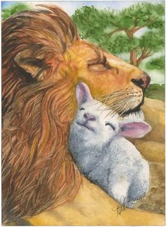 Lion and the Lamb by BeccasBrushstrokes on Etsy, prophetic art.