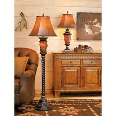 """Pinecone Glow Floor Lamp - $299 - 64"""" high. Love the barley twist, not so fond of the in-your-face glowing pinecones."""