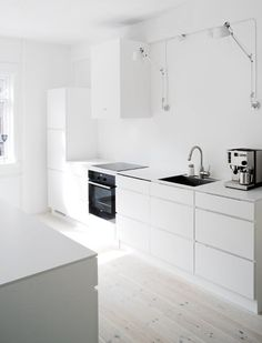 Whitethis is what white floor with white kitchens look like.. Too cool?
