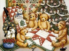 Teddys & Toys by Nita Showers - Teddy Bear Wallpapers - Teddy's Christmas - Teddys & Toys - Vintage Teddy Bear Paintings 10 Tatty Teddy, Vintage Teddy Bears, Cute Teddy Bears, Photo Ours, Art D'ours, Teddy Bear Party, Bear Paintings, Teddy Bear Pictures, Bear Images