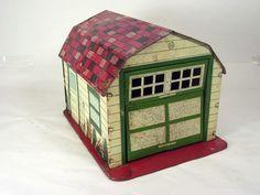 Vintage Marx Toys lithograph metal tin dollhouse garage