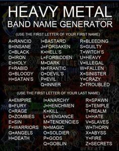My band? Dark Fury - BORING......Sounds more like a 70's black super hero