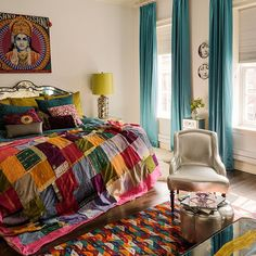 Main bedroom with patchwork quilt | Five-storey New York Brownstone | House tour | PHOTO GALLERY | Livingetc | Housetohome.co.uk