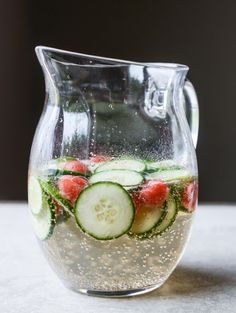 cucumber watermelon sangria-- this is such an intensely refreshing drink. mine ended up having way too much vegetable matter and not enough wine, so i'd switch the ratios up next time. Fancy Drinks, Wine Drinks, Cocktail Drinks, Alcoholic Drinks, Beverages, Sangria Wine, Watermelon Sangria, Sangria Recipes, Recipes