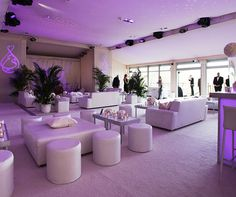 Lounge furniture and club-like lighting are a great complement to a cocktail reception.