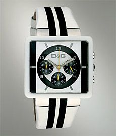 Your watch choices don't only have to consist of Timex or Rolex. There's some great watches in the price range in between the two. This D Dolce & Gabbana Watch ($325) features a great cream band with contrast stripes, chronograph quartz movement, stainless steel and corian squared case, and is hand treated with luminescent material.