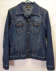 Womens Style & Co Denim Blue Jean Jacket Stretch Size Small S #Styleco #JeanJacket #Casual
