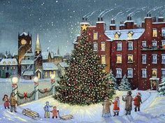 Vintage Christmas Card singing OChristmasTree.