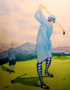 Lady Teeing Off, the Lake Placid Club,  1920, 9x12, watercolor, dec 1, 2015.  by Tom Dudones