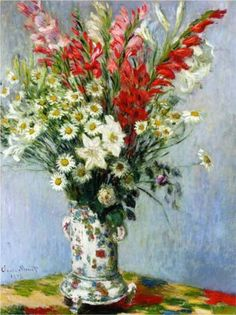 Bouquet of Gadiolas, Lilies and Dasies - Claude Monet