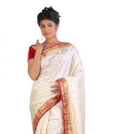 Ankisha White Art Silk Saree