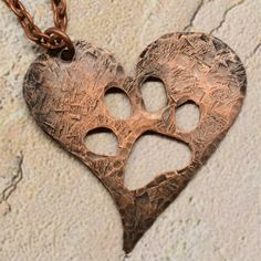 Pawprints on My Heart Hand Forged Copper Pendant by SunStones