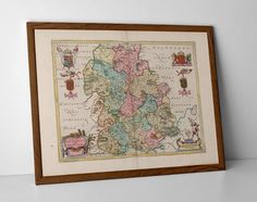 Vintage Map of Shropshire, originally created by Willem Janszoon Blaeu, now available as a 'museum quality' classic decoration print.  #Albrighton #BaystonHill #Bridgnorth #Broseley #homedecor #travelposter #interiordesign #hahnemuhle #Ludlow #oldmap #Newport #Oswestry #Shifnal #Shrewsbury #shropshire #Telford #Wem #Whitchurch