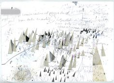 The walk that continues in the landscape. Create Drawing, Visual Diary, Abstract Drawings, Seascape Paintings, White Art, Illustration Art, Illustrations, Traditional Art, Mark Making
