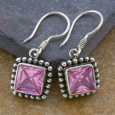 pink topaz square earrings