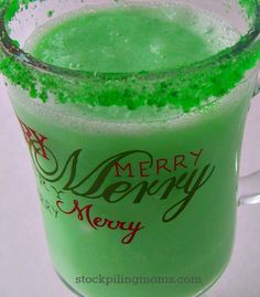 Grinch Punch is such a great idea for Children's Christmas parties or for a How the Grinch Stole Christmas party!