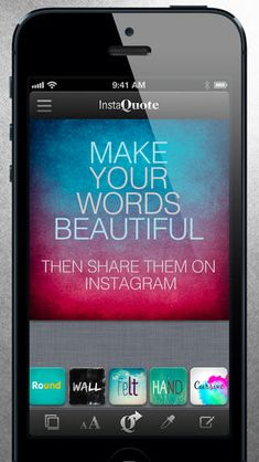 """""""InstaQuote"""" -- add text captions to photos and pictures for Instagram -- great free app"""