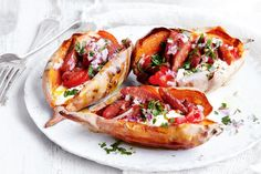 Let the oven do all the work with these flavoursome Spanish sweet potato pockets filled with spicy chorizo,capsicumand sour cream.