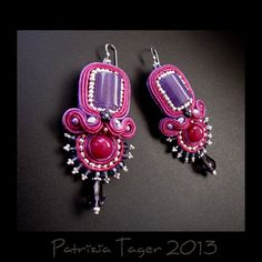 Berry Carnival - Soutache Bead Embroidered Earrings by Triz Designs