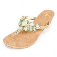 a0896b132916 Thong wedge sandal with gold glitter footbed and lots of bling -  large small stones