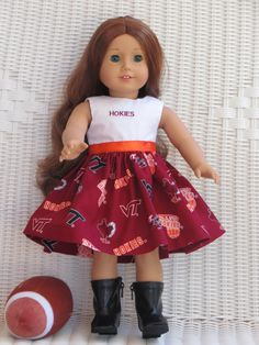 American Girl Virginia Tech Doll Dress by DollClothesbyTrudy