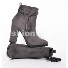 ebcabcc71a14 Prechodné dámske čižmy sivej farby s hrubým podpätkom - fashionday.eu