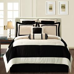 queen-size bed-in-a-bag set from Gramercy. This modern black and tan 12-piece bed set includes a comforter, two shams, bedskirt, four-piece sheet set, and more.