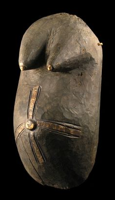 Africa | Body mask from the Anago people of Nigeria | Wood, pigment