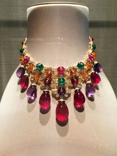 A mutli-color gem-set and pavé diamond necklace in yellow gold from Bulgari's