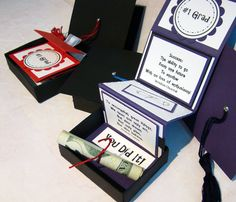 Love this idea. Graduation gift box using SU's matchbox die w/inside pages cut and scored to tuck neatly inside. Top is 3x3 cardstock. Tassels made w/embroidery thread and attached w/a small brad