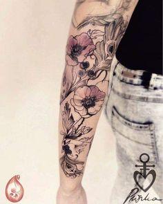 Pliszka tattoo floral arm tattoo, vintage floral tattoos, vintage f Vintage Floral Tattoos, Floral Arm Tattoo, Vintage Flower Tattoo, Full Sleeve Tattoo Design, Full Sleeve Tattoos, Flower Tattoos, Tattoo Vintage, Piercings, Handpoke Tattoo