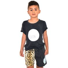 Kids casual tee and leopard print board shorts / cute kids clothing / beach surf street style / Tevita clothing