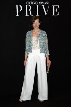 Milla Jovovich at Giorgio Armani Prive Show during Paris Haute Couture Fashion Week Fall/Winter 2013-2014