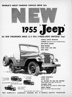 1955 Willys Universal Jeep Model (love to find one it is the same year I was born) Jeep Willys, Jeep Cj, Jeep Truck, Jeep Wrangler, Vintage Jeep, Vintage Trucks, Vintage Ads, Hummer H3, Station Wagon