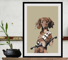 Ciapek as Chewbacca. Star Wars print poster movie  Chewbacca Wiener Dog Size A. $19.00, via Etsy.