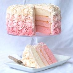 Girl baby shower ideas. Love this pink ombré cake!