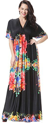 """Jusfitsu Women's Boho Maxi Dress V Neck Bat Sleeve High Waisted Plus Size Orange 4XL. Plus size dress material: Ice silk,very soft and comfortable. Bohemia style, round collar design, full-length and silk fabrics summer beach plus size dress feel comfortable, delicate! Stereo close cut, perfect for vacation traveling wear!. Suitable for many occasions, such as shopping, party ,holiday or just daily wear. Very stylish maxi plus size dress. Model height is 5'9"""", Bust: 37"""" Waist: 27.17"""" Hip…"""