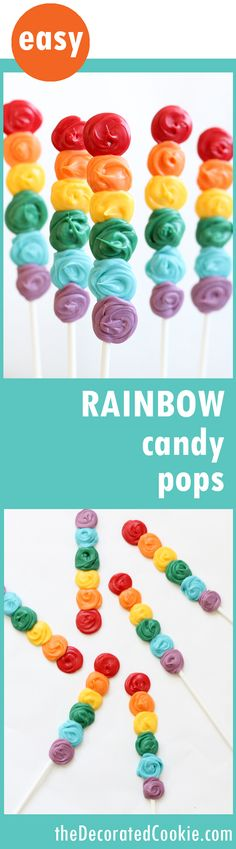 EASY rainbow candy pops -- perfect for a rainbow or unicorn party    Food Recipe   Easy Food Recipes