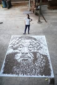Ai Weiwei's portraits done with sunflowers seeds
