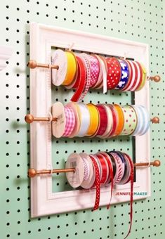 DIY Ribbon Organizer Frame: Pretty and Functional! – Jennifer Maker DIY Ribbon Organizer and Storage Frame for your Organized Craft Room! Craft Room Storage, Pegboard Craft Room, Craft Room Closet, Kitchen Pegboard, Ikea Pegboard, Pegboard Storage, Pegboard Display, Diy Storage, Storage Organizers