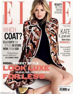 Kate Upton stars on the cover of Elle UK September 2014