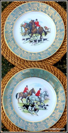 Tray Vintage Old Zinc 3 pieces Deer Hunter Wild Dinner Table Decoration Country House