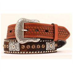 Men's Belt | Nocona Cow Hide with Silver Concho & Brown Stones Leather Belts, Men's Belts, Cow Hide, Brown, Silver, Stones, Accessories, Fashion, Moda